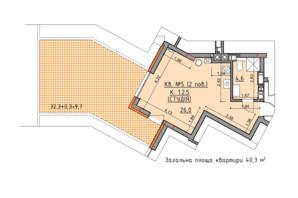 ЖК Басів схил: планування 3-кімнатної квартири 40.3 м²