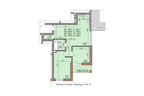ЖК Басів схил: планування 2-кімнатної квартири 63.8 м²
