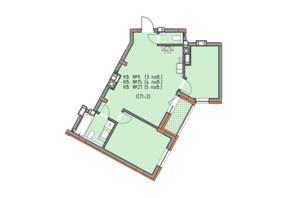ЖК Басів схил: планування 2-кімнатної квартири 61.5 м²