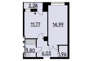ЖК Bauhaus: планировка 1-комнатной квартиры 39.22 м²