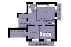 ЖК Бельгийский дом: планировка 2-комнатной квартиры 73 м²