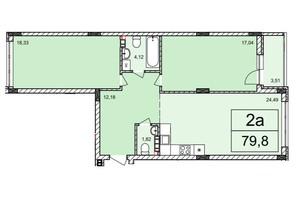 ЖК Белый Шоколад: планировка 2-комнатной квартиры 79.8 м²