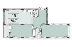 ЖК Белый Шоколад: планировка 2-комнатной квартиры 79.7 м²