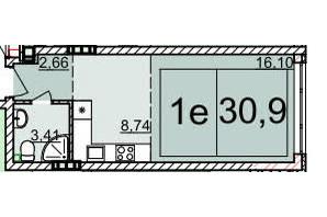 ЖК Белый Шоколад: планировка 1-комнатной квартиры 30.8 м²