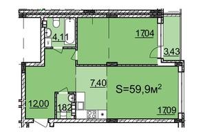 ЖК Белый Шоколад: планировка 1-комнатной квартиры 59.9 м²