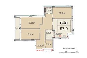 ЖК Белый Шоколад: планировка 4-комнатной квартиры 97 м²