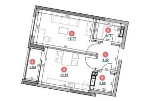ЖК Берег Днепра: планировка 1-комнатной квартиры 44.19 м²