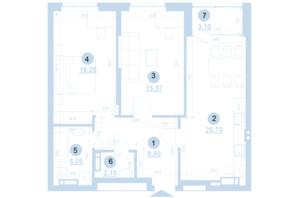 ЖК Берег Днепра: планировка 2-комнатной квартиры 72.22 м²