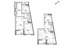 ЖК Берег Днепра: планировка 2-комнатной квартиры 68.09 м²
