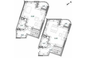 ЖК Берег Днепра: планировка 2-комнатной квартиры 100.39 м²