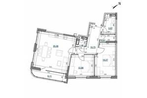 ЖК Берег Днепра: планировка 2-комнатной квартиры 89.31 м²
