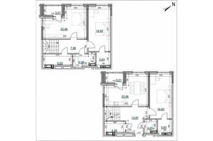 ЖК Берег Днепра: планировка 3-комнатной квартиры 135.79 м²