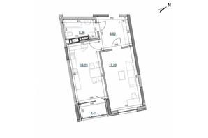 ЖК Берег Днепра: планировка 1-комнатной квартиры 50.62 м²