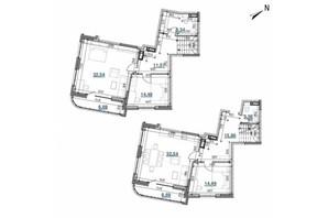 ЖК Берег Днепра: планировка 3-комнатной квартиры 146.71 м²