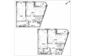 ЖК Берег Днепра: планировка 3-комнатной квартиры 139.41 м²