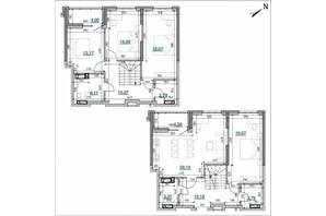 ЖК Берег Днепра: планировка 4-комнатной квартиры 143.1 м²