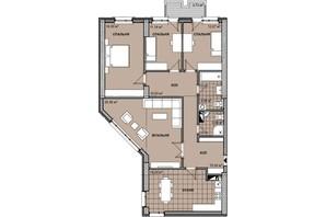ЖК Берестейский: планировка 4-комнатной квартиры 123 м²