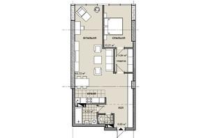 ЖК Берестейский: планировка 1-комнатной квартиры 74.47 м²