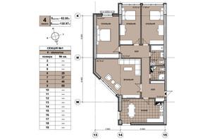 ЖК Берестейский: планировка 4-комнатной квартиры 129.6 м²