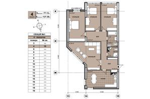 ЖК Берестейский: планировка 4-комнатной квартиры 126 м²