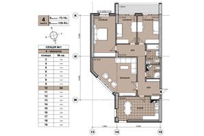 ЖК Берестейський: планування 4-кімнатної квартири 124.1 м²