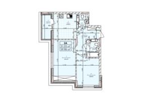 ЖК Бережанский: планировка 2-комнатной квартиры 59.98 м²