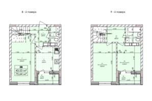 ЖК Бережанский: планировка 3-комнатной квартиры 75.64 м²
