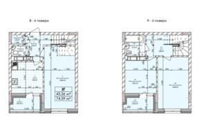 ЖК Бережанский: планировка 3-комнатной квартиры 75.59 м²