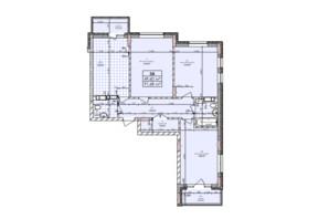 ЖК Бережанский: планировка 3-комнатной квартиры 91.68 м²