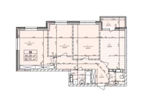 ЖК Бережанский: планировка 3-комнатной квартиры 80.95 м²