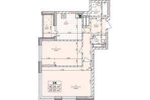 ЖК Бережанский: планировка 2-комнатной квартиры 69.2 м²