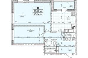 ЖК Бережанский: планировка 2-комнатной квартиры 67.1 м²
