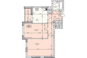 ЖК Бережанский: планировка 2-комнатной квартиры 66.99 м²