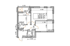 ЖК Бережанский: планировка 2-комнатной квартиры 66.16 м²