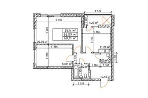 ЖК Бережанский: планировка 2-комнатной квартиры 68.11 м²
