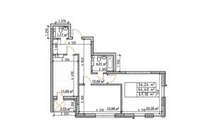 ЖК Бережанський: планування 2-кімнатної квартири 67.18 м²