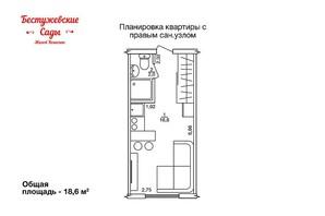 ЖК Бестужевські сади: планування 1-кімнатної квартири 19 м²