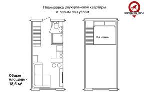 ЖК Бестужевские сады: планировка 1-комнатной квартиры 18.6 м²