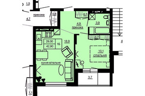 ЖК Beverly Hills: планування 1-кімнатної квартири 42.9 м²