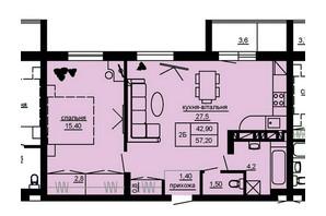 ЖК Beverly Hills: планування 2-кімнатної квартири 57.2 м²