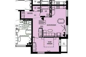 ЖК Beverly Hills: планування 2-кімнатної квартири 64.5 м²