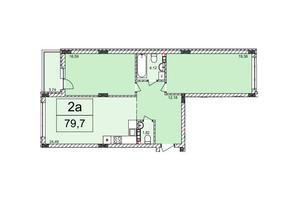 ЖК Білий Шоколад: планування 2-кімнатної квартири 79.7 м²