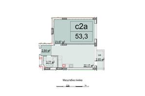ЖК Білий Шоколад: планування 1-кімнатної квартири 53.4 м²