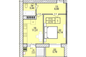 ЖК Болгарский: планировка 1-комнатной квартиры 40.9 м²