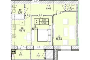 ЖК Болгарский: планировка 2-комнатной квартиры 57.2 м²