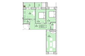 ЖК Болгарский: планировка 3-комнатной квартиры 71.2 м²