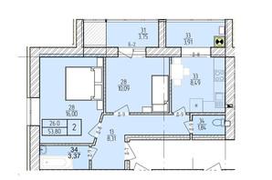 ЖК Болгарский: планировка 2-комнатной квартиры 53.8 м²
