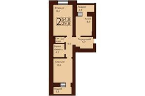 ЖК Borispol Grand: планування 2-кімнатної квартири 55 м²