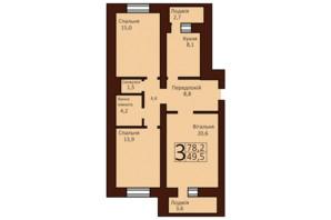 ЖК Borispol Grand: планування 3-кімнатної квартири 78.2 м²