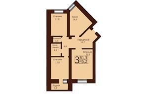 ЖК Borispol Grand: планировка 3-комнатной квартиры 81.8 м²